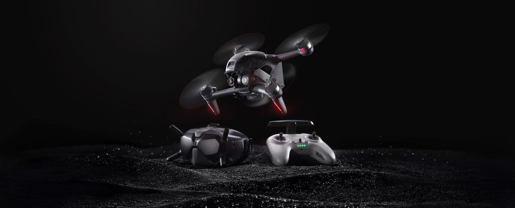 Dron DJI FPV, gafas y control remoto